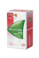 NICORETTE 2 mg Gom à mâcher médic sans sucre fruits Plq/105 à Bordeaux